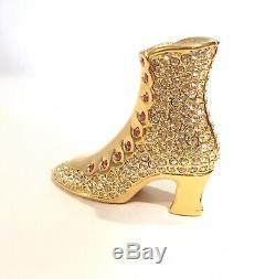 1997 Estee Lauder Golden Slipper Heel Beautiful Solid Compact BOX