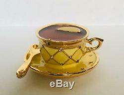 1998 Estee Lauder PLEASURES TEA CUP Solid Perfume Compact IN ORIGINAL BOX