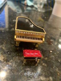2000 Estee Lauder Beautiful Black Baby Grand Piano Solid Perfume Compact-Rare