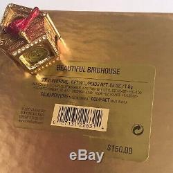2001 Estee Lauder Beautiful Birdhouse Cardinal Birds Solid Perfume Compact w BOX