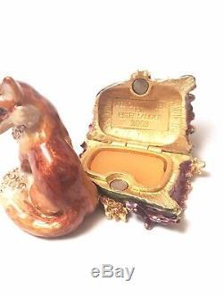 2003 Estee Lauder Jay Strongwater Fiery Fox White Linen Perfume Compact