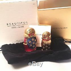 2008 Estee Lauder Nesting Doll Beautiful Solid Compact BOX Enamel & Rhinestone
