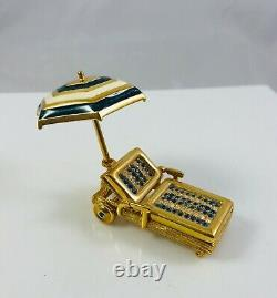 2008 Estee Lauder Solid Perfume Compact Jewelled Beach Lounge Chair withUmbrella
