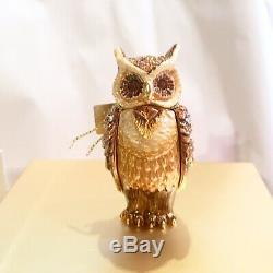 2010 Estee Lauder Jay Strongwater Beautiful Wise Ole Owl Solid Compact BOX
