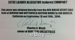 ANN MILLER Estate COA Vintage Estee Lauder Alligator Compact w Box & Pouch