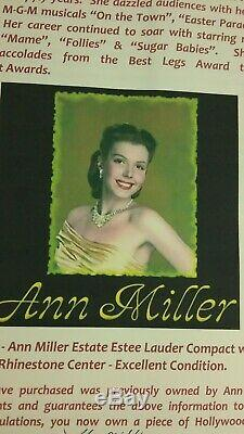 ANN MILLER Estate COA Vintage Estee Lauder Compact w Rhinestone