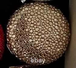 Designer Kathrine Baumann Estee Lauder Powder Compact Gold Crystal