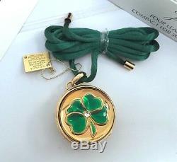 ESTEE LAUDER 4-LEAF IRISH CLOVER SOLID PERFUME COMPACT NECKLACE Original BOXES