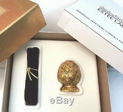 ESTEE LAUDER ARTICHOKE GUILLOCHE COMPACT DAZZLING SILVER SOLID PERFUME Orig BOX