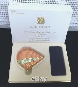 ESTEE LAUDER CORAL SHELL POWDER COMPACT with AUSTRIAN CRYSTALS MIBB