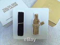 ESTEE LAUDER GOLD FLACON w DIAMONDS SOLID PERFUME COMPACT in Orig. BOX RARE