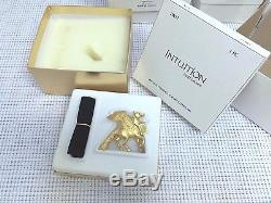 ESTEE LAUDER GOLD PEGASUS SOLID PERFUME COMPACT VTG Orig BOX NIB