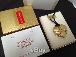 ESTEE LAUDER SPELLBOUND HEART PENDANT NECKLACE SOLID PERFUME COMPACT in BOX