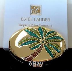 ESTEE LAUDER TROPICAL PALM POWDER COMPACT AUSTRIAN CRYSTALS inORIG. BOX RARE NEW