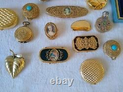 Estate Lot Vintage Perfume Compacts Pill Boxes Powder Estee Lauder solid Perfume