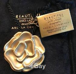 Estee Lauder 18kt Gold Ltd Ed Beautiful Blossom Perfume Solid Compact Rare