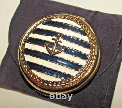 Estee Lauder 1998 Powder Compact Clear Sailing Nautical Anchor Marine Stripe New