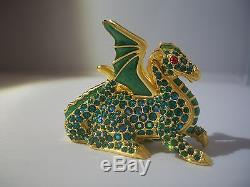 Estee Lauder 1999 Magic Dragon Solid Perfume Compact Green Crystals Gorgeous