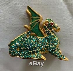 Estee Lauder 1999 Magic Dragon Solid Perfume Compact Green Crystals Rare