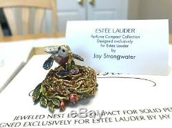 Estee Lauder 2003 Solid perfume compact MIBB JEWELED NEST EGG BIRD STRONGWATER