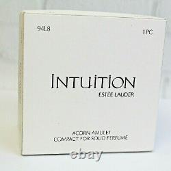 Estee Lauder 2004 Solid Perfume Compact Acorn Amulet & Stand MIBB Intuition