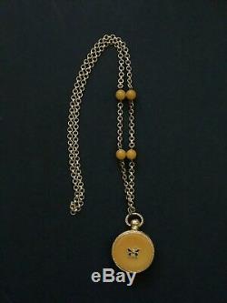 Estee Lauder Butterfly Collector's Solid Azuree Perfume Pendant Locket Compact