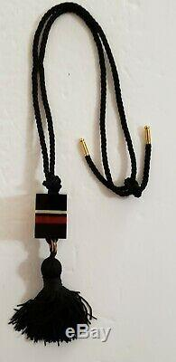 Estee Lauder Cinnabar Solid Perfume Lucite Compact Necklace With tassel Rare