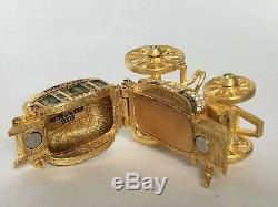 Estee Lauder Gilded Stagecoach Solid Perfume Pleasures Compact withBoxes Complete