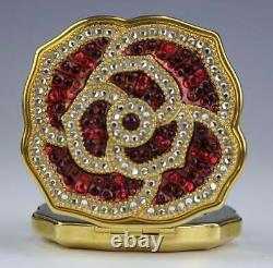 Estee Lauder Jay Strongwater red crystal flower Lucidity Compacts