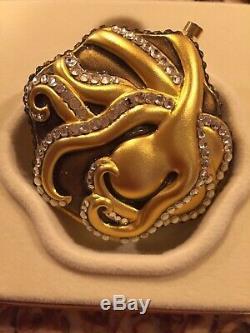 Estee Lauder Pressed Powder Compact Octopus Gold Crystal Sea Stars Rare