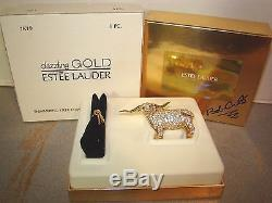 Estee Lauder Shimmering Steer Solid Perfume Compact with Boxes Dazzling Gold