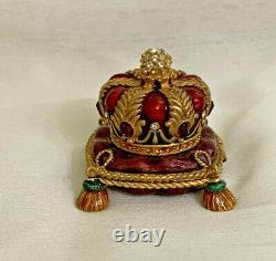 Estee Lauder Solid Perfume Compact Jay Strongwater Bejeweled Crown 2005 No Box