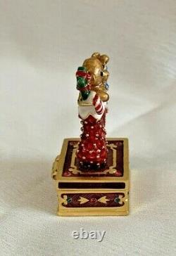 Estee Lauder Solid Perfume Compact Jay Strongwater Holiday Stocking No Box