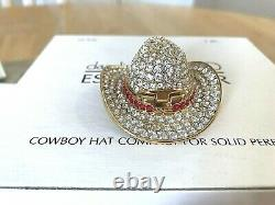 Estee Lauder Solid perfume compact MIBB DAZZLING GOLD COWBOY HAT RED STAR