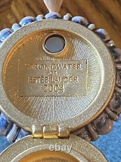 Jay Strongwater 2004 Estee Lauder Precious Bird Birdbath Perfume Compact Box