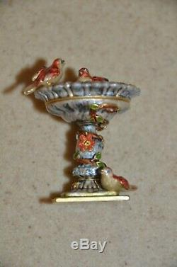 Jay Strongwater Estee Lauder Compact Precious Bird Birdbath Figurine Enamel Box