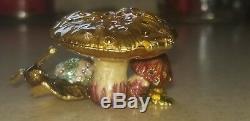 Jay Strongwater Estee Lauder Perfume Compact Mushroom Snail Figurine Enamel Box