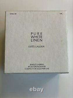 Jay Strongwater For Estée Lauder Solid White Linen Perfume Compact Jukebox