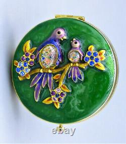 Jay Strongwater for Estee Lauder 2010 Compact Enamel With Birds Swarovski Crystals