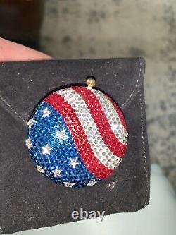 KATHRINE BAUMANN ESTEE LAUDER Swarovski Crystal American Flag POWDER COMPACT