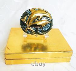 Ltd Edition Estee Lauder Dolphins Sea Stars Swarowski Crystals Powder Compact