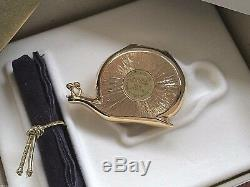 MIBB ESTEE LAUDER WHITE LINEN PERFUME in LUCKY SNAIL SOLID COMPACT Orig BOX RARE