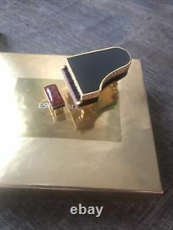 NIB New 2000 Estee Lauder Beautiful Black Baby Grand Piano Solid Perfume Compact