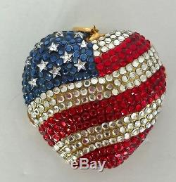 Nib Estee Lauder New York Spirit Apple Rhinestone Powder Mirror Compact USA Flag
