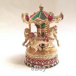 ORIGINAL Estee Lauder Beautiful Carousel Enamel Solid Compact BOX & Bag