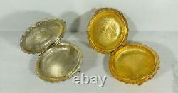 PROTOTYPE 1974 Estee Lauder GOLD & SILVER- SUPER Solid Perfume Compacts SET