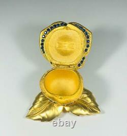 PROTOTYPE 1998 Estee Lauder BEAUTIFUL Crystal BLUE ROSE Solid Perfume Compact