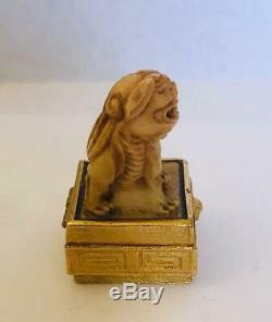 RARE1974 Estee Lauder AZUREE IVORY FOO DOG Solid Perfume Compact WithPOUCH