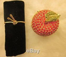 RARE Estee Lauder Solid Perfume Collectible Compact Apple 1997 Dazzling Gold EU