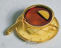 RARE Estee Lauder TEA CUP Pleasures Solid Perfume Compact 1999 boxed as new